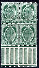 MALTA KE VII 1909 Half Penny Deep Green Mult Crown CA BLOCK OF FOUR SG 47b MNH