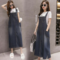 Women Casual Loose Denim Strap Dungaree Dress Overalls Jeans Long Pinafore S-5XL