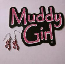 Browning Logo Earrings RED ENAMEL DANGLE EARRINGS HUNTING GIFT MUDDY GIRL DECAL