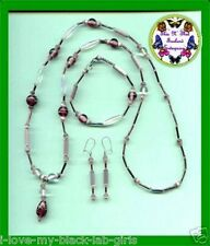 Necklace Bracelet & Earring Mauve Beads gift Set & Pouch---Mauve Beads--Homemade