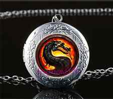 Black Dragon Photo Glass Tibet Silver Chain Locket Pendant Necklace