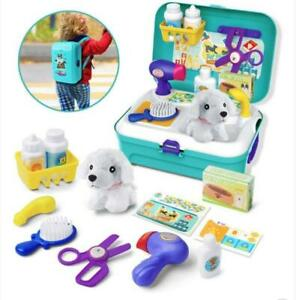Pretend Pet Care Role Play Set Grooming Toys Feeding Dog Backpack Kit Childrens