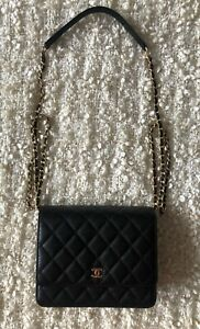 New CHANEL Black Caviar Leather Gold Square Crossbody WOC Wallet On Chain Bag