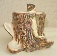 ancien pot à tabac en forme de souche d'arbre - barbotine