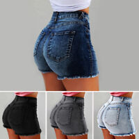 High Waist Denim Women Shorts Bodycon Ripped Short Jeans With Tassel Plus Size