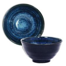 "Japanese 4.75""D Porcelain Rice Soup Bowl Namako Blue Swirl Made in Japan"