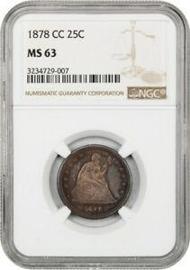 1878-CC 25c NGC MS63 - Liberty Seated Quarter - Scarce Carson City Issue