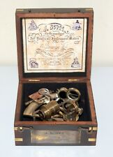 Nautical Brass Sextant Marine Vintage Collectible Brown Antique With Wooden Box