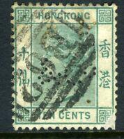 China 1884 Hong Kong 10¢ Blue Green QV Wmk CCA SG #37 PERFIN J828 ⭐⭐⭐⭐⭐⭐
