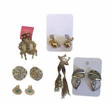 Vintage Clip On Earrings Lot Pierced Look Silver Gold Costume Jewelry