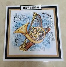 Handmade HAPPY BIRTHDAY 3D DECOUPAGE CORNO FRANCESE IN OTTONE ARPA MUSICA CLASSICA Carta