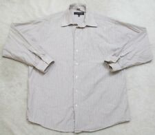 Kenneth Cole Dress Shirt Large Long Sleeve Striped 16.5 34/35 Cotton Beige Brown