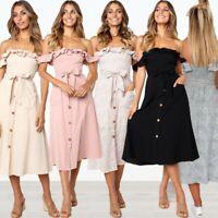 Women's Sexy Ruffle Halter Dresses Ladies Summer Holiday Strappy Pocket Sundress