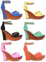 Women Ladies Wedge High Heel Platform Sandals, Peep Toe Faux Suede Party Shoes.