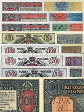 (Reproduktionen !)21 Banknoten Generalgouvernement Warschau 1914-1918(P439-P456)