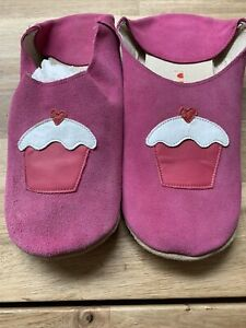 Womens Hot PInk Suede Cupcake Leather Morrocan Style Slippers Size 7-8 Slip On