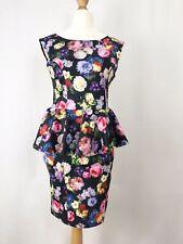 Topshop Black & Multi Coloured Floral Peplum Bodycon Dress UK Size 14 V-Back
