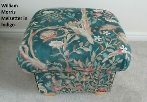Storage Footstool William Morris Melsetter Fabric Indigo Pouffe Green Blue Birds
