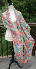 Vintage Floral Red Green and Purple Lavender Retro Chiffon Fabric Ruffle Sheer