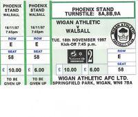 Ticket - Wigan Athletic v Walsall 18.11.97