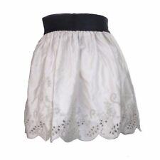 Casual Elastic High Waist Beige Mini Skirt Floral Cutout Hem Women's Casual