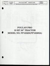 """Rare Original Factory Poulan 10 HP 36"""" Tractor PP1036S Parts List Repair Manual"""