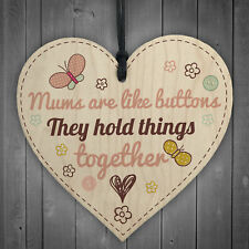 Mums Are Like Buttons Mum Gift Wooden Hanging Heart Sign Present Love Thank You