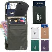 RFID Travel Neck Pouch Passport Holder | Premium Waterproof Neck Wallet Stash