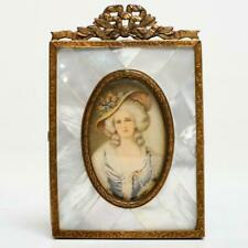 VINTAGE BRASS & MOTHER OF PEARL PICTURE FRAME W/ LADY PORTRAIT LITHOGRAPH