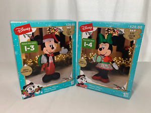 🎄 MICKEY & MINNIE MOUSE INFLATABLE Christmas Lighted 5 Ft Yard displays -NEW