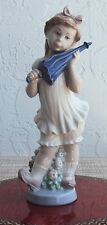 LLADRO SWEET GIRL WITH UMBRELLA 10 3/4 INCHES TALL PORCELAIN FIGURINE #4987