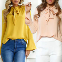 Femmes Chemisier Col Lavallière Classique Manches Longues Chemise Shirt Blouse