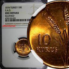 Turkey Bronze 1974 10 Kurus FAO NGC UNC DETAILS NICE RED TONING KM# 898.2