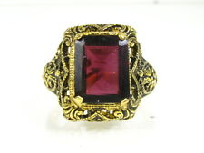 14k YG on Sterling Silver Natural Emerald Cut 3ct Rhod Garnet Filigree Ring G07