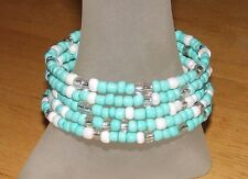 Turquoise White Crystal Beaded Wrap Coil Bangle Bracelet USA Made - Glass Beads