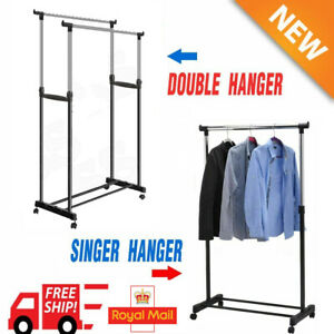 Double Single Garment Rack Silver Adjustable Portable Clothes Hanging Rail Stand