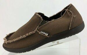 Crocs Santa Cruz Loafers Frayed Moc Toe Brown Comfort Canvas Causal Shoes Mens 8