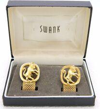 VTG SWANK Signed Gold Tone Taurus Horoscope Zodiac Cufflinks in Box