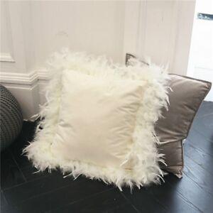 Throw Pillow Case Cushion Cover Feather Velvet Fluffy Furry Sofa Bed Decor