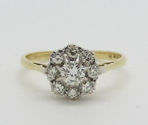 Beautiful Vintage 18ct Gold 0.60ct Diamond Cluster Ring