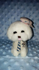 "OOAK Handmade 4"" Little Gentalman Nautical Bichon Needle Felted Dog Puppy"