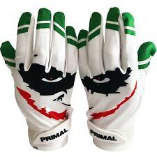 """Primal Football Adult Joker Receiver Gloves """"Smiley"""" Size Large"""