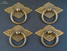 "4 Eastlake Antique Style Brass Ornate Ring Pulls Handles 2-3/8"" wide #H15"