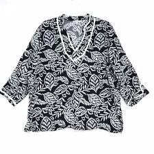 JM Collection WOMAN 100% Linen Tunic Blouse 22W Black White Mandarin Collar V