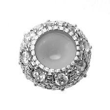 Perle mit Silikonkern verziert mit Strass silber 1 Stück V222