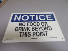 """NEW Brady 70442 """"No Food Or Drink"""" Notice Sign  *FREE SHIPPING*"""
