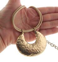 Vintage Chico's Modernist Pendant Leather Choker Necklace