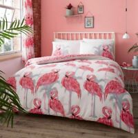 Flamants roses et palmiers Set Housse de couette simple rose - 2 en 1 Design