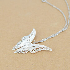Women Lady Fine Silver Plated Butterfly Necklace Pendant Popular