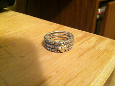 BARBARA BIXBY 18K GOLD STERLING SILVER SET OF 3 STACK RINGS SIZE 6 RETIRED